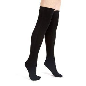 Black fleece-lined thigh highs